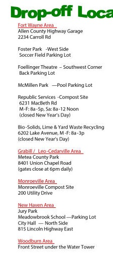 Allen county Fort Wayne Christmas tree recycling drop off locations