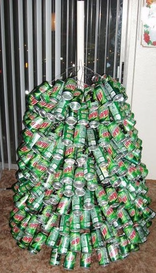 Starting At The Bottom Insert Longest Wires Into Holes And Attach A Mountain Dew Can To Other End Of Each Just Work Your Way Up Tree